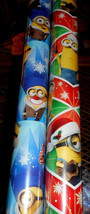 MINIONS CHRISTMAS WRAPPING PAPER 20 SQ FT AMERICAN GREETINGS Blue ONLY ROLL - $4.75+