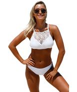 White Crop Lace Overlay Bikini Set - $18.16
