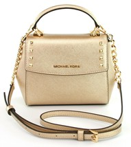 Michael Kors Cross Body Bag Karla Leather Small Handbag Pale Gold - $226.56