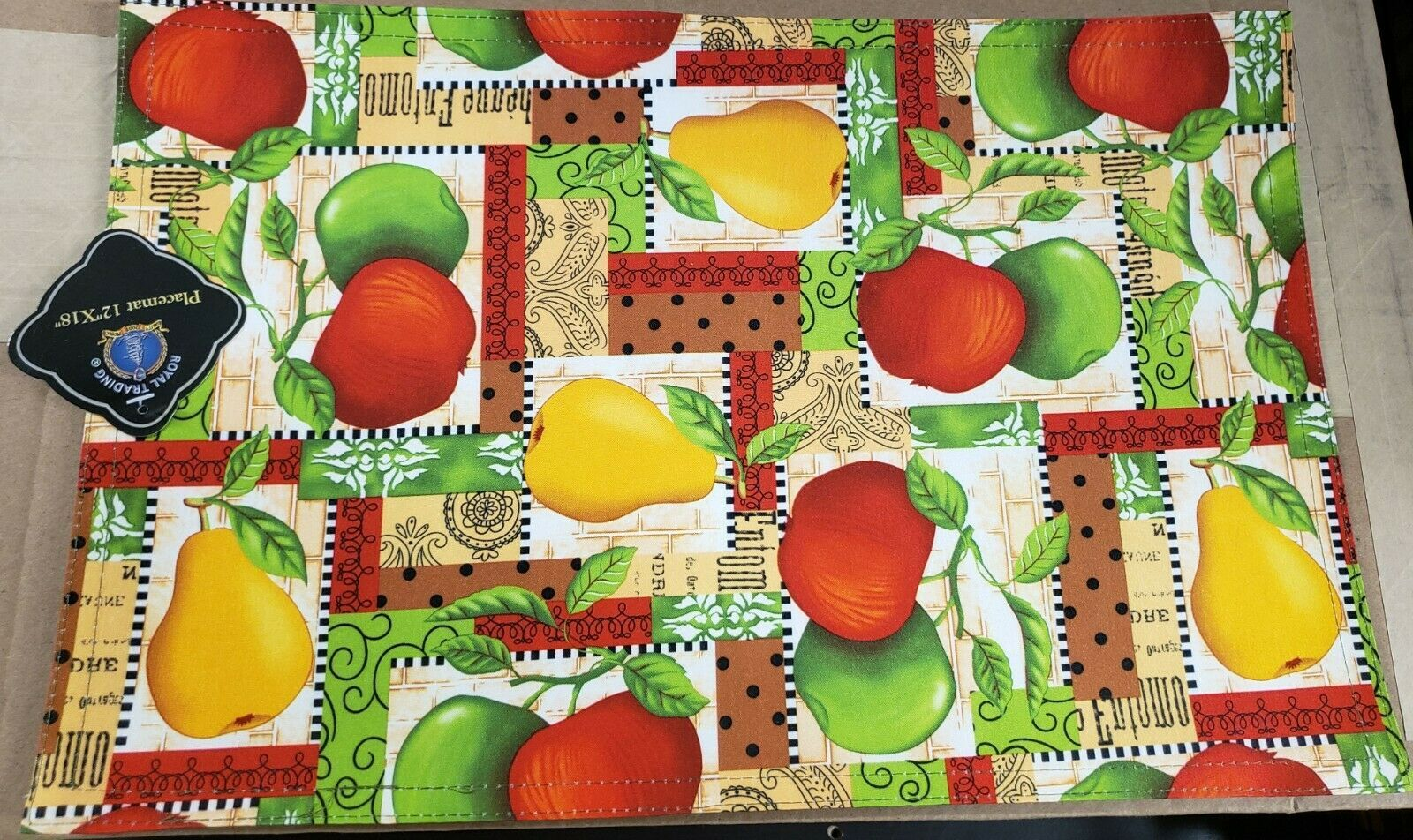 "Primary image for SET OF 2 PRINTED FABRIC PLACEMATS,12x18"",APPLES & PEARS,green back,Royal Trading"