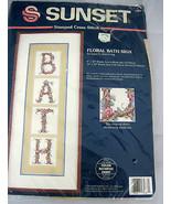 Sunset Stitchery Cross Stitch Floral Bath Sign Decorative Picture Kit 13067 - $22.99