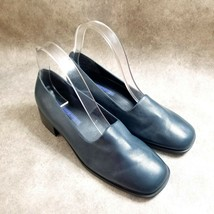 Easy Spirit Womens Chino  Size 8.5 B Blue  Leather Slip On Loafer Low Block Heel - $19.99