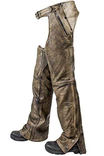 Primary image for Men's Motorcycle Riding Biker 4 Pocket Distressed brn leather chap Pant W/Liner