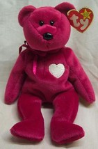 "TY Beanie Baby 1999 VALENTINA MAGENTA TEDDY BEAR 9"" STUFFED ANIMAL Toy NEW - $15.35"