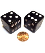 2x JUMBO Dice Six Sided D6 25mm Standard Square Edged Die BLACK With Whi... - $6.99