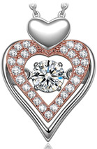 Dangle Heart Necklace for Women 925 Sterling Silver necklaces for her Ro... - $109.95