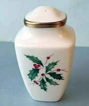 Lenox Holiday Gold Square Salt Shaker Holly/Berry Motif USA New - $45.90
