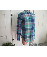 Ralph Lauren button down shirt  XS green blue plaid long sleeves 100% linen - $23.47