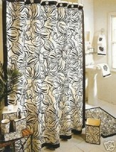 Veratex Camille Dogwood Flower 5P Bath Set Black Off White Fabric Curtain - $85.45