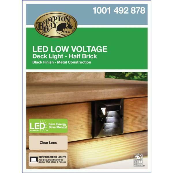 Hampton Bay Low Voltage Black Outdoor Integrated Led: Hampton Bay Low-Voltage Black Outdoor Integrated LED Half