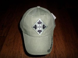 U.S Army 4TH Infantry Division Hat Military Baseball Cap Od Green Stone Washed - $35.99