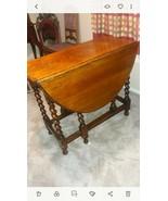Old English Antique Tiger Oak Twisted Barley Drop Leaf Dining Table - $717.75