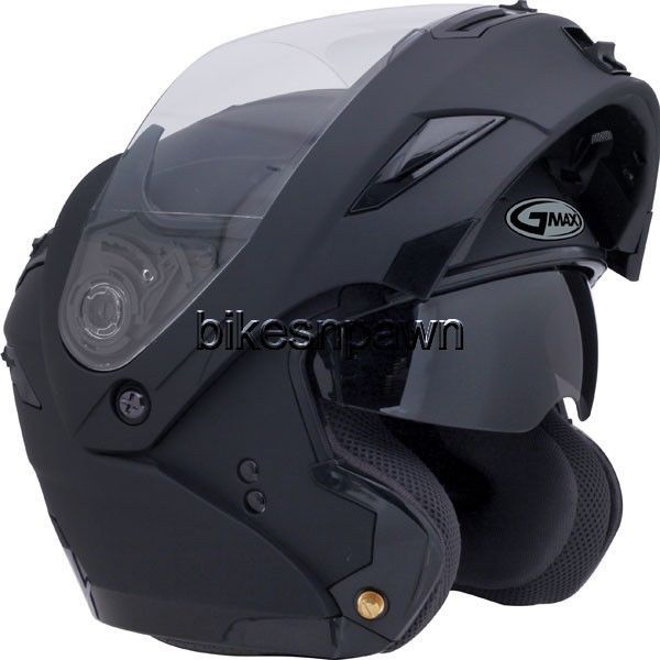 L GMax GM54S Flat Black LED Modular Motorcycle Helmet