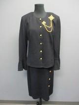 ST. JOHN Black Long Sleeves Blazer Sz 12 Knee Length Skirt Sz 10 NWT DD5187 - $395.99