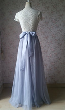 Adult Maxi Tulle Skirt with Slit Silver Gray Bridal High Slit Tulle Skirt Plus  image 5
