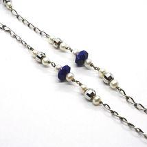 Collar Plata 925 , Lapislázuli Azul Disco, Perlas, Colgante Gota image 3