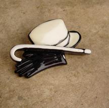 Magician cane Brooch / Vintage Top Hat / black GLoves / Wedding Tuxedo /... - $110.00