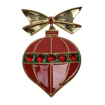 Vintage Liz Claiborne Red Ornament Rhinestone Brooch Christmas Pin - $28.54