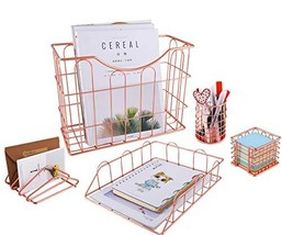 Superbpag Wire Metal 5 in 1 Desk Organizer Set - Letter Sorter, Pencil H... - $41.21