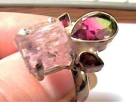 Sterling silver 925 ring 9 natural rough KUNZITE BICOLOR TOURMALINE ARTI... - £31.86 GBP