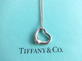 Authentic Tiffany & Co. Elsa Peretti 16mm Open Heart Sterling Silver Pen... - $129.00