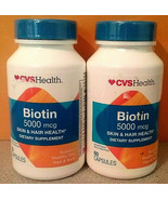 CVS Biotin 5000 mcg Skin Hair Health 60 Tablets 2 bottles Exp 7/20 and l... - $8.90