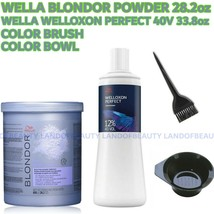 Wella Blondor Multi Blonde Powder 28.2oz+40V Develper 33.8OZ+COLOR Brush+Bowl - $49.99