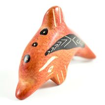 SMOLArt Hand Carved Painted Soapstone Red Orange Dolphin Figurine Made Kenya image 5