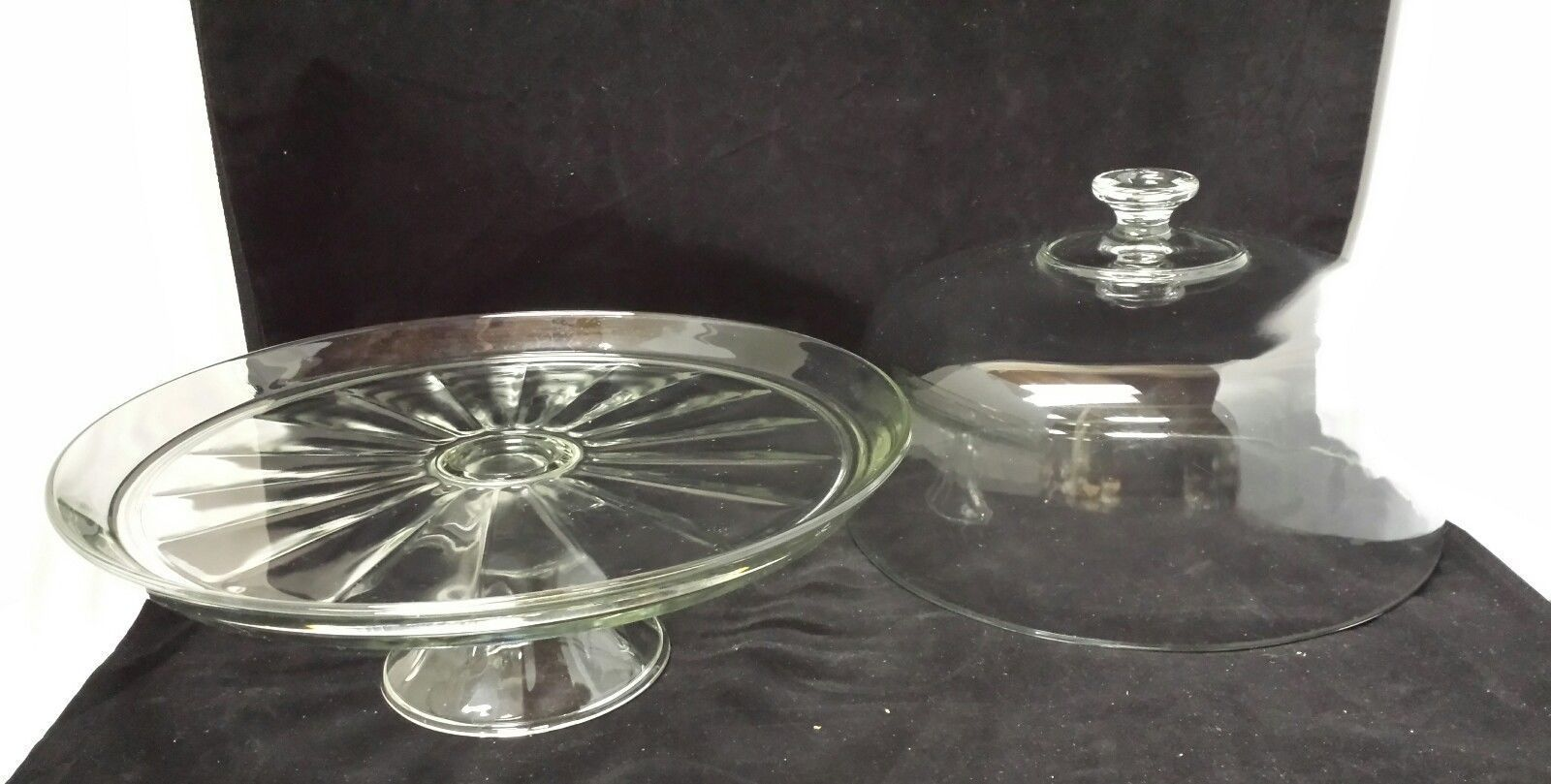 Indiana Glass Cake Stand: 2PC Footed Domed, & Salad Punch Serving Pedestal Bowl