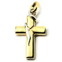 Pendentif Croix en or Blanc et Jaune 18K 750 Crucifix Fabriqué en Italie... - $270.64