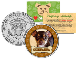 CHIHUAHUA Dog JFK Kennedy Half Dollar US Colorized Coin - $8.86