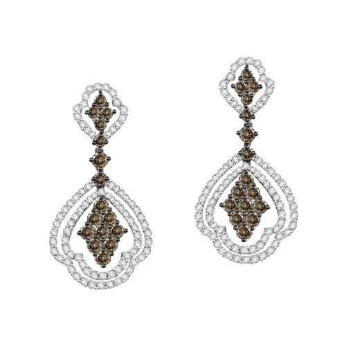 10K White Gold 1Cttw White and Brown Diamonds Dangling Earrings