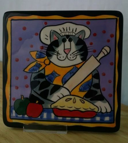 "Candace Reiter CATZILLA Kitty Cat Trivet CAT CHEF in HAT Tile 2002 6"" imperfect"