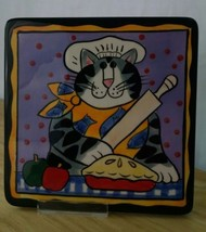 "Candace Reiter CATZILLA Kitty Cat Trivet CAT CHEF in HAT Tile 2002 6"" im... - $12.86"