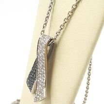 18K WHITE GOLD NECKLACE HUG BOW PENDANT WHITE BLACK DIAMONDS, DIAMOND CUT CHAIN image 5