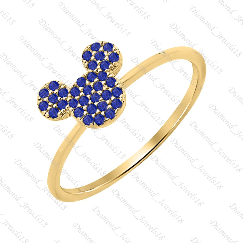 Mickey Mouse Blue Sapphire 14k Yellow FN 925 Sterling Silver Fashion Ring Womem'