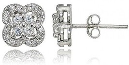 Sterling Silver Cubic Zirconia Four Leaf Clover Stud Earrings - $50.45