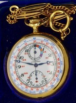 Museum 18k Gold&enamel Longines Cronometro Cronografo Capitano Watch.world Mappa - $13,359.96