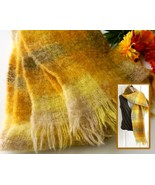 Vintage Scarf Mohair Wool Great Britain Archie Brown & Son Gold Yellow - $24.95