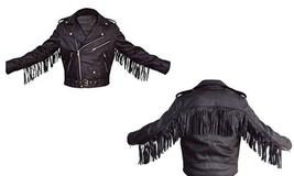 QASTAN Men's New Black Western / Cowboy Cow Leather Biker Jacket Fringes FJ48 - $137.00