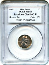 Mint Error: 1965 1c PCGS MS65 RD (Struck on Clad 10c Pl) - Lincoln Cent - $594.00
