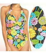 Trina Turk Santiago Floral Print Strappy Beaded Halter One Piece Swimsuit  - $99.00