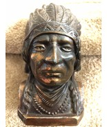 Indian Chief Bank Very Old Antique Piggy Bank With Indian Headdress  - $119.95