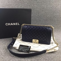 AUTHENTIC CHANEL DARK BLUE QUILTED LAMBSKIN MEDIUM BOY FLAP BAG LIGHT GOLD HW image 1