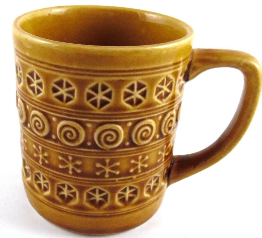 Brown Tan Vintage Pottery Geometric Shapes Swirls Coffee
