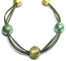 """MULTI WIRES NECKLACE YELLOW BLUE BIG MURANO GLASS SPHERES, 50cm 20"""" ITALY MADE image 2"""