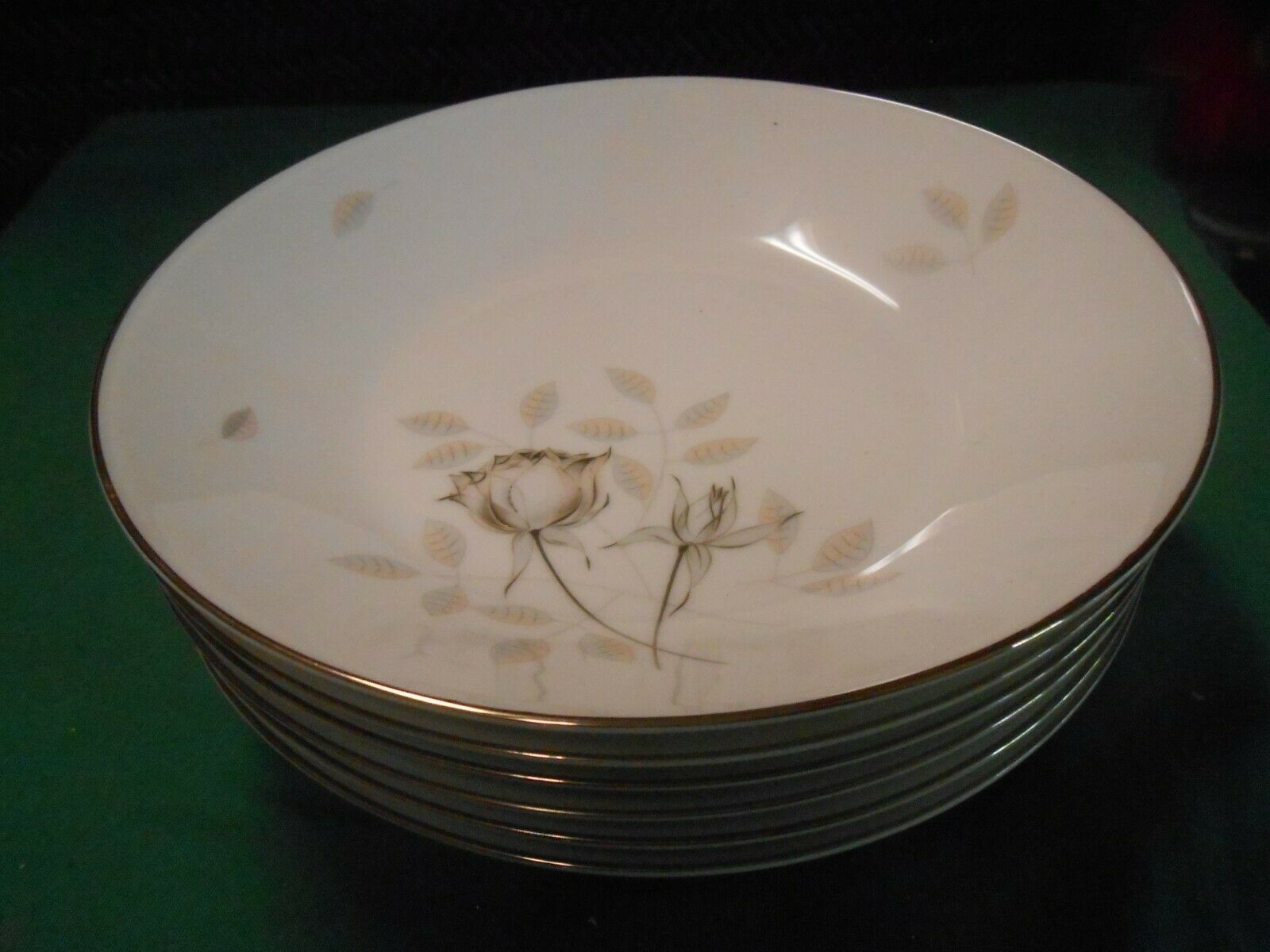 Primary image for  Magnificent ROSENTHAL Germany PEACH BROWN-GRAY ROSE . Set 6 SOUP BOWLS 8.75""