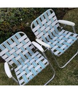 Vintage 2 Folding Aluminum Webbed Lawn Patio Beach Camp Chairs Aqua Whit... - $93.46