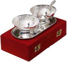 Silver Plated Brass BowlL With Tray Set Of 5 Pieces - $49.00