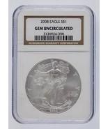 2008 Argent 1oz American Eagle NGC Classé Gem Hors-Circulation - $57.54